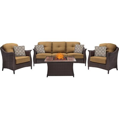 Gramercy 4 Piece Fire Pit Deep Seating Group with Cushions Fabric: Tan