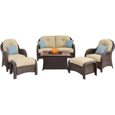Newport 6 Piece Fire Pit Deep Seating Group with Cushions Fabric: Cream