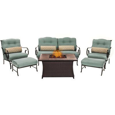 Oceana LP Gas Fire Pit 6 Piece Lounge Seating Group with Cushions Fabric: Blue