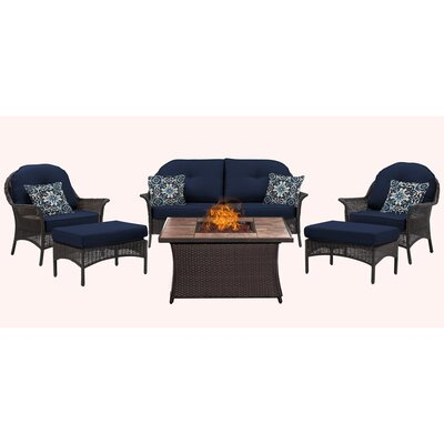 San Marino 6 Piece Fire Pit Lounge Seating Group with Cushions Fabric: Navy
