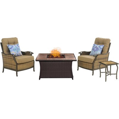 Hudson Square 4 Piece Fire Pit 2 Person Seating Group with Cushion
