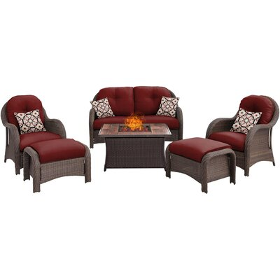 Newport 6 Piece Fire Pit Deep Seating Group with Cushions Fabric: Red