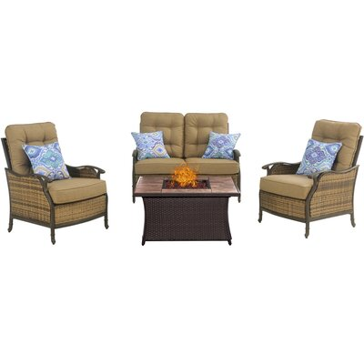 Hudson Square 4 Piece Fire Pit Deep Seating Group with Cushions