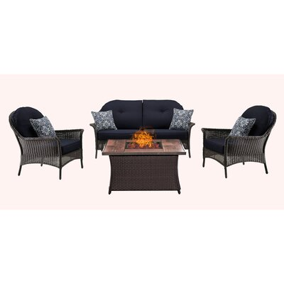 San Marino 4 Piece Fire Pit Lounge Seating Group with Cushions Fabric: Navy