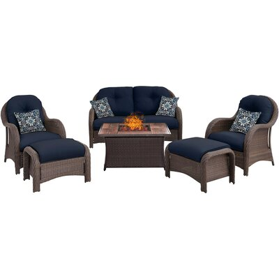 Newport 6 Piece Fire Pit Deep Seating Group with Cushions Fabric: Navy