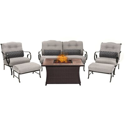 Oceana LP Gas Fire Pit 6 Piece Lounge Seating Group with Cushions Fabric: Silver