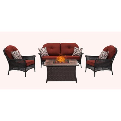 San Marino 4 Piece Fire Pit Lounge Seating Group with Cushions Fabric: Red