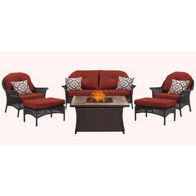 San Marino 6 Piece Fire Pit Lounge Seating Group with Cushions Fabric: Red