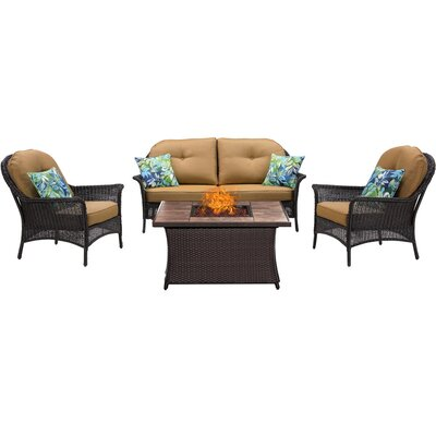 San Marino 4 Piece Fire Pit Lounge Seating Group with Cushions Fabric: Tan