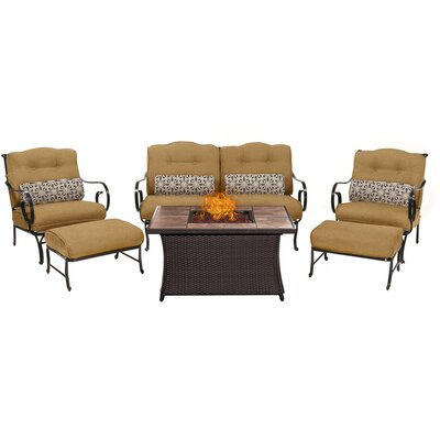 Oceana LP Gas Fire Pit 6 Piece Lounge Seating Group with Cushions Fabric: Tan
