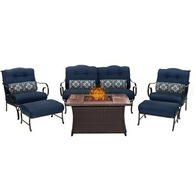 Oceana LP Gas Fire Pit 6 Piece Lounge Seating Group with Cushions Fabric: Navy