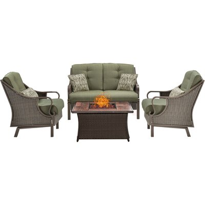 Ventura 4 Piece Fire Pit Deep Seating Group with Cushions Fabric: Green