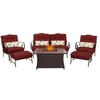 Oceana LP Gas Fire Pit 6 Piece Lounge Seating Group with Cushions Fabric: Red