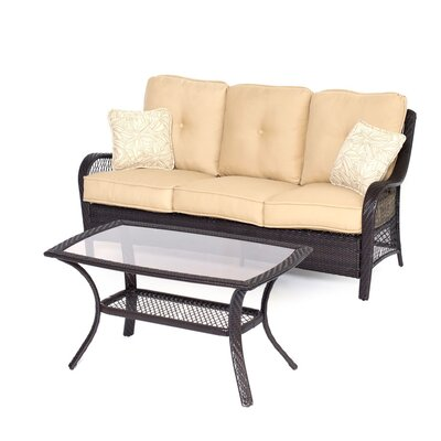Orleans 2 Piece Deep Seating Group with Cushions Color: Sahara Sand