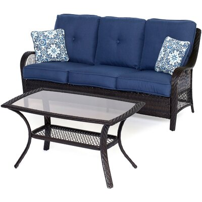 Orleans 2 Piece Deep Seating Group with Cushions Color: Navy Blue