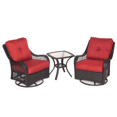 Orleans 3 Piece Deep Seating Group with Cushions Color: Autumn Berry