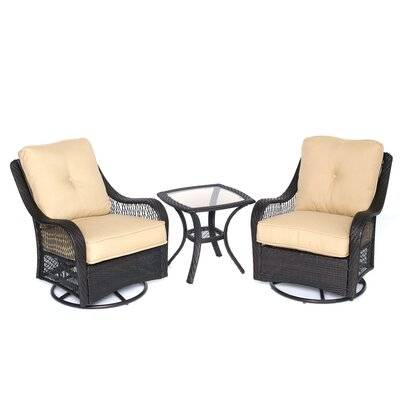 Orleans 3 Piece Deep Seating Group with Cushions Color: Sahara Sand