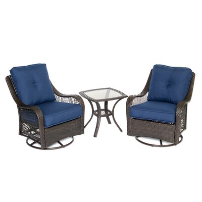 Orleans 3 Piece Deep Seating Group with Cushions Color: Navy Blue