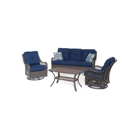 Orleans 4-Piece All-Weather Patio Seating Group with Cushion Color: Navy