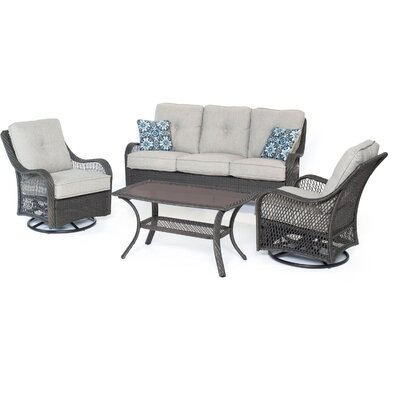 Orleans 4-Piece All-Weather Patio Seating Group with Cushion Color: Silver