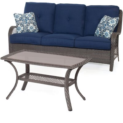 Orleans 2-Piece Patio Seating Group with Cushion Color: Navy