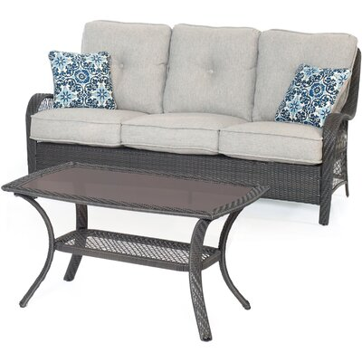 Orleans 2-Piece Patio Seating Group with Cushion Color: Silver