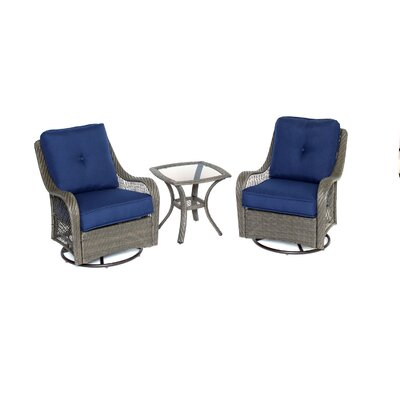 Orleans 3-Piece Swivel Rocking Chat Seating Group with Cushion Fabric: Navy Blue