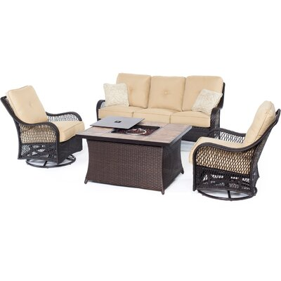 Orleans Woven 4 Piece Deep Seating Group with Cushion Fabric: Sahara Sand