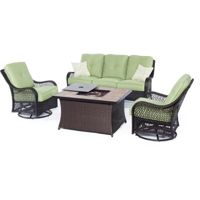 Orleans Woven 4 Piece Deep Seating Group with Cushion Fabric: Avocado Green