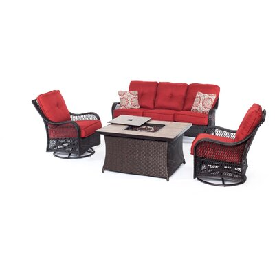 Orleans Woven 4 Piece Deep Seating Group with Cushion Fabric: Autumn Berry