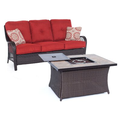 Orleans Woven 2 Piece Deep Seating Group with Cushion Fabric: Autumn Berry