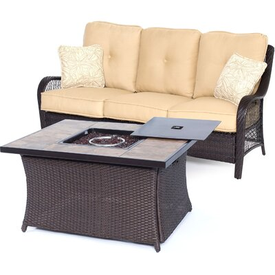 Orleans Woven 2 Piece Deep Seating Group with Cushion Fabric: Sahara Sand