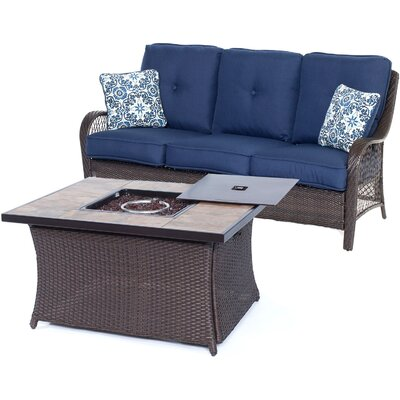 Orleans Woven 2 Piece Deep Seating Group with Cushion Fabric: Navy Blue