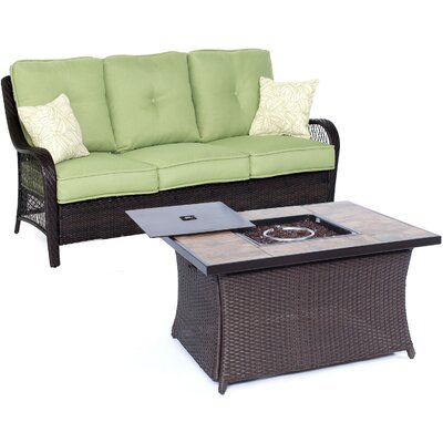 Orleans Woven 2 Piece Deep Seating Group with Cushion Fabric: Avocado Green