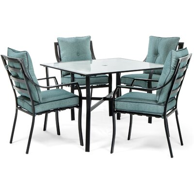 Sweetman 5 Piece Dining Set Cushion Color: Ocean Blue