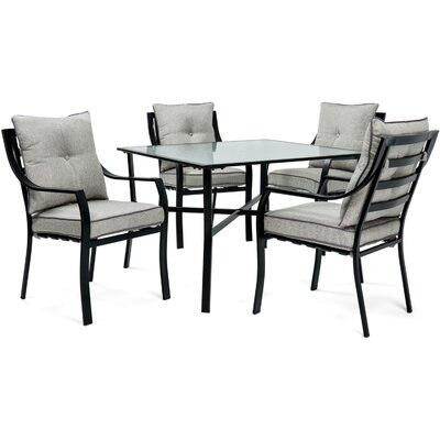 Sweetman 5 Piece Dining Set Cushion Color: Gray