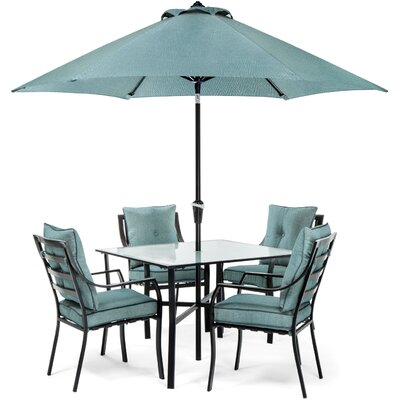 Sweetman 5 Piece Metal Dining Set Cushion Color : Ocean Blue