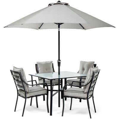 Sweetman 5 Piece Metal Dining Set Cushion Color: Gray