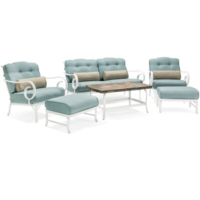 Oceana 6 Piece Deep Seating Group with Cushion Fabric: Blue