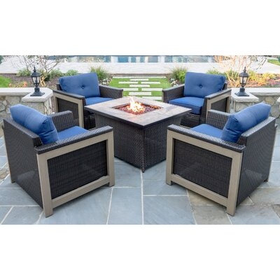 Newstead 5 Piece Fire Pit Chat Set Fabric: Navy Blue