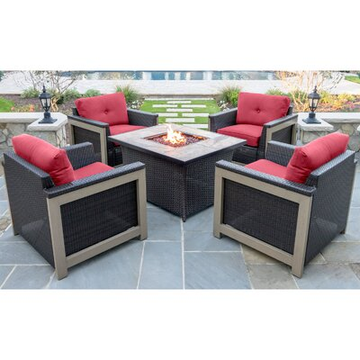 Newstead 5 Piece Fire Pit Chat Set Fabric: Autumn Berry