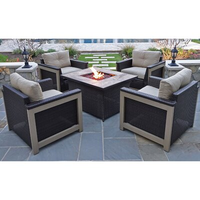 Newstead 5 Piece Fire Pit Chat Set Fabric: Tan