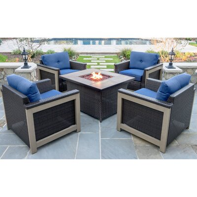 Newstead 5 Piece Resin Wicker Deep Seating Group Fabric: Navy Blue