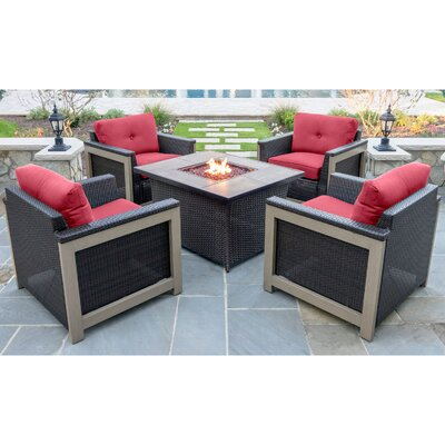 Newstead 5 Piece Resin Wicker Deep Seating Group Fabric: Autumn Berry