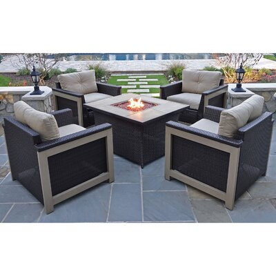 Newstead 5 Piece Resin Wicker Deep Seating Group Fabric: Tan