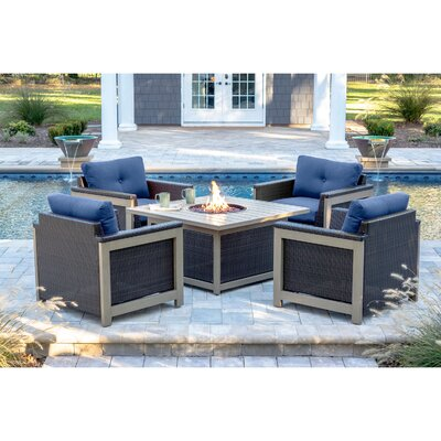 Newstead 5 Piece Deep Seating Group Fabric: Navy Blue