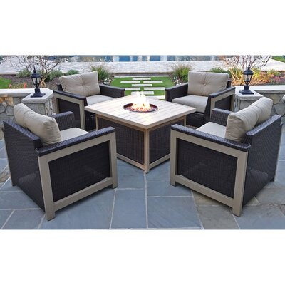 Newstead 5 Piece Deep Seating Group Fabric: Tan