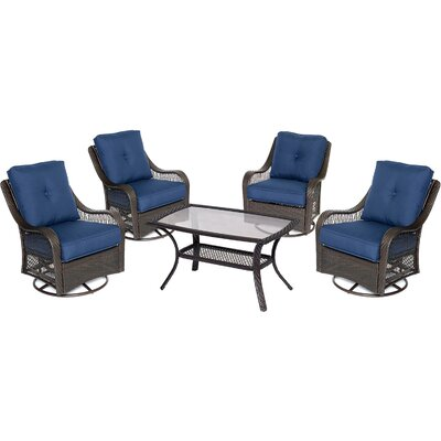 Orleans 5 Piece Deep Seating Group Fabric: Navy Blue