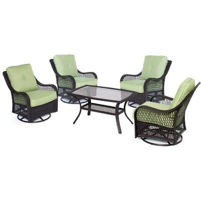 Orleans 5 Piece Deep Seating Group Fabric: Avocado Green