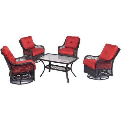 Orleans 5 Piece Deep Seating Group Fabric: Autumn Berry